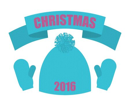 mittens: Christmas of 2016. Set of winter clothing. Knitted hat and mittens. Scarf accessory apparel. Warm clothing.