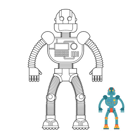humanoid: Robot coloring book. Cyborg - technological machine. Humanoid machine of future. Illustration