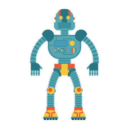 retro future: Robot. Retro toy. Cyborg technological machine. Humanoid machine of future. Illustration