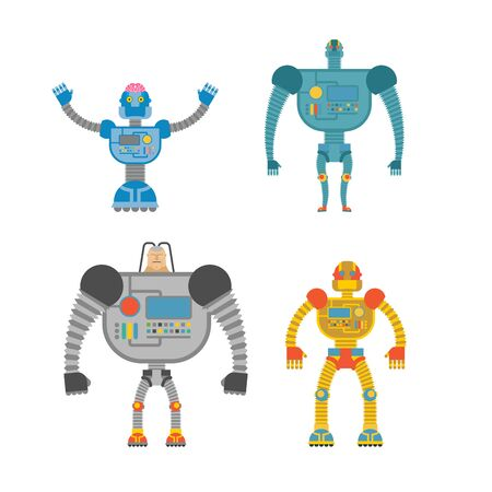 space invaders: Robots Set . Space invaders Cyborgs. Iron colored robots. Illustration
