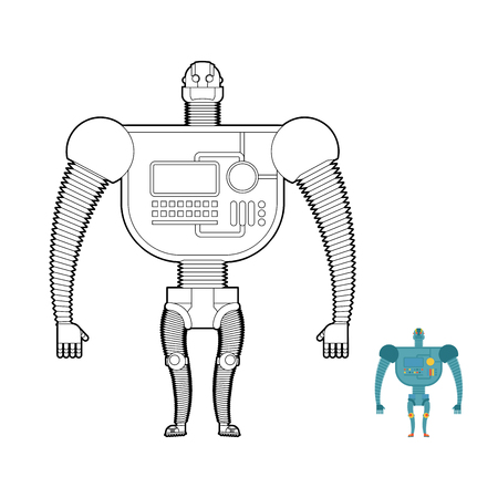 droid: Retro Robot Warrior coloring book. Toy for boys. Space robot, and stranger.