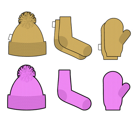warm weather: Set clothes for cold weather. Winter knitted clothing accessory. Hat and socks, mittens. Warm clothing. Illustration