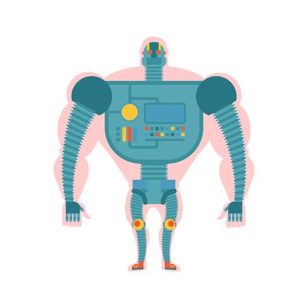 future city: Bio robot structure. Man with  cybernetic exoskeleton. Cyborg human body. Robot man. Mechanical skeleton ofthe future of mankind. Illustration