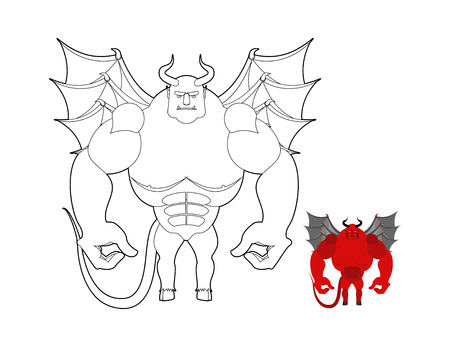 underworld: Devil coloring book. Red demon with wings and horns. Helluva terrible Satan with big muscles. Bodybuilder from underworld.
