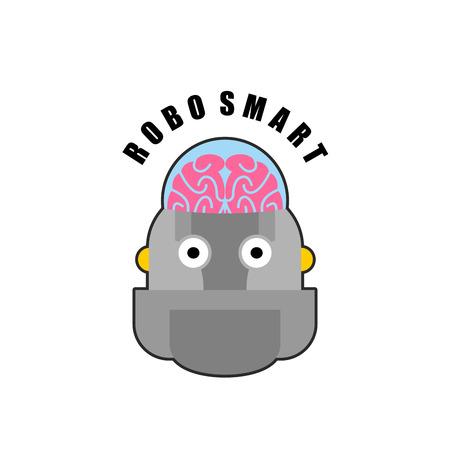 bionics: Smart robot. Emblem of Biomechanics of  human brain. Logo for intellectual anthropomorphic machines of future. Artificial intelligence.