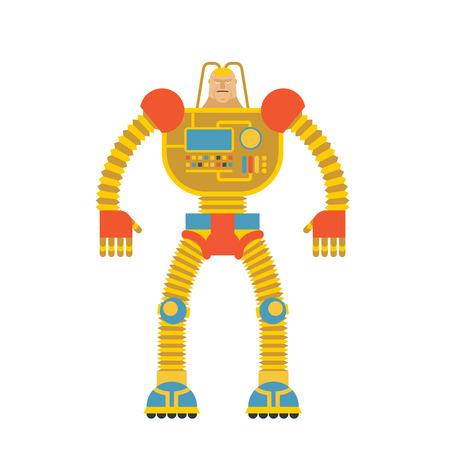 Hombre Robot. Hombre Cibernético Con Las Manos Mecánicas. Bionic ...