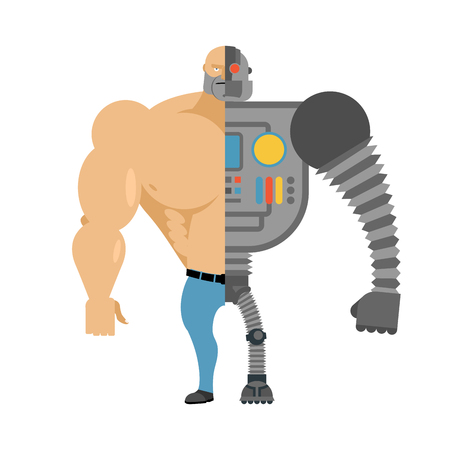 amputation: Cyborg. Half human half robot. Man with big muscles and iron limbs. Cyber-man of future.
