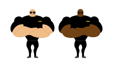 roped off: Security Guards nightclub. Two bodybuilder guarding entrance. Powerful people with big biceps.