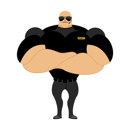 muscular control: Big and strong security guard. Man with big muscles. Security guard nightclub. Athlete with big muscles in black t-shirt.