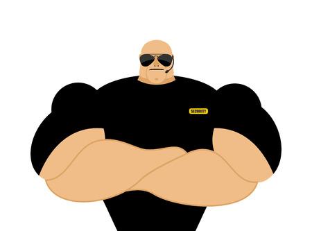 seguridad en el trabajo: Guardia de seguridad. Hombre atlético fuerte en la ropa negra. Protección de la propiedad e individual.