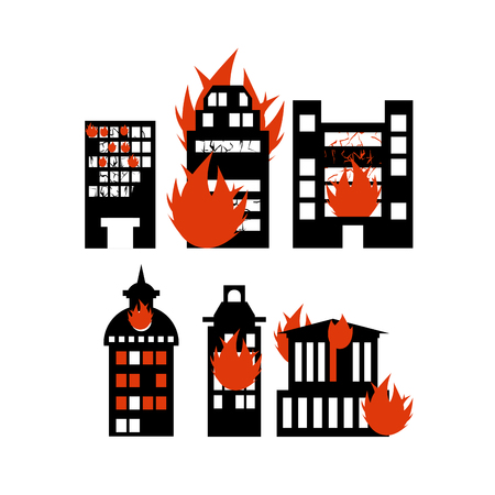 burning: Fire  building. Set of icons lit city buildings. Emergency incident. Destruction of municipal and public houses. burning skyscraper Illustration