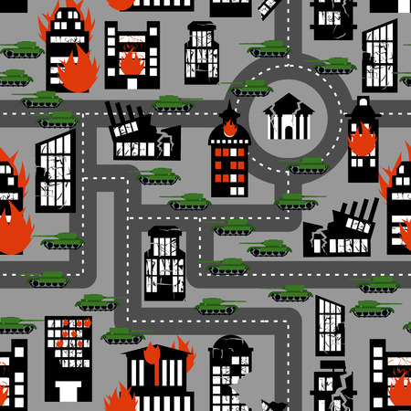 Tanks in seamless pattern. Background of hostilities. Conflict between political entities. Organized armed struggle. Fire and destroyed building.