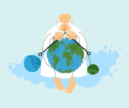 神の雲と地球の上に座って。地球の創造。髭の白衣の老人。ウールの編みボール。宗教の図。世界の作成者