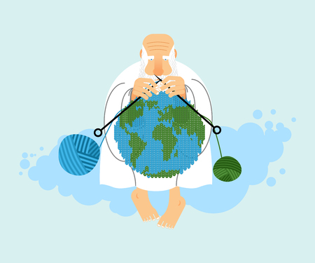 the creator: God sitting on cloud and knit planet Earth. Creation of  Earth. An elderly man with beard in white clothes. Knitting balls of wool. Religious illustration. World creator