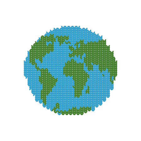 the oceans: Knitted Earth. Globe made of wool. Winter version of  planet. Crochet peace continents and oceans Illustration