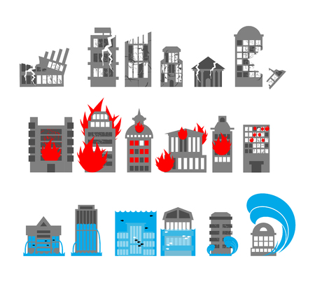 Set building disasters destruction. Flood and fire in public buildings. Tsunami and earthquake. Urban elements of broken homes.
