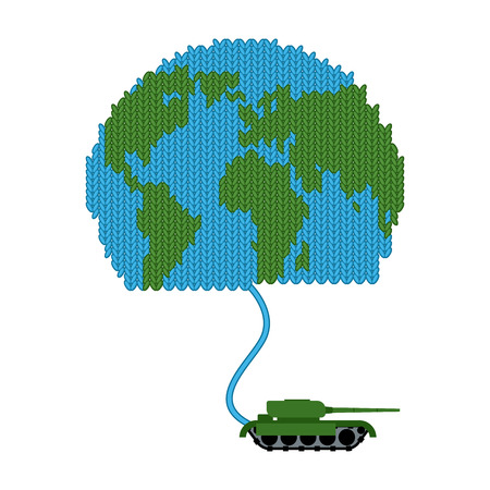 Tank dissolves knitted world. To wage war. Start of hostilities. Earth from the wool. Military equipment destroys peace Illustration
