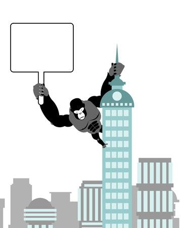 ゴリラ持株空白のワークシート、銘板。公共の建物に野生の強い猿。大きな怖い動物市。  イラスト・ベクター素材