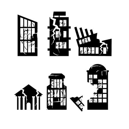 Set van verwoeste gebouwen. Huis na aardbeving. Wolkenkrabbers en business center kapot.