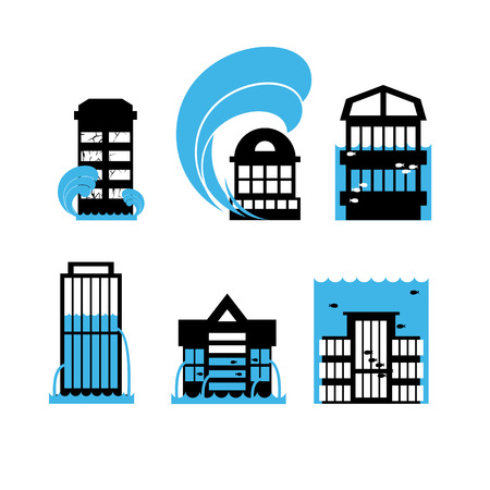 public houses: Flood and tsunami icons set houses. Flooding of buildings. Public structures in water. Flooded skyscraper. Illustration