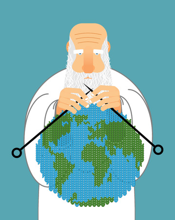 making earth: God Making Earth. Knitting World. Establishment of wool on planet. Grandfather with beard holds ground.