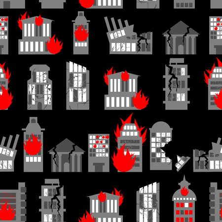 ruins: Ruined city seamless pattern. Ruins of buildings. Fire in homes. Background of war - ravaged City.