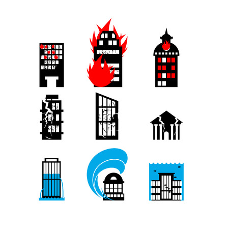 incendio casa: Desastres colección de iconos. Incendios, terremotos e inundaciones. Construcción de la ciudad destruida