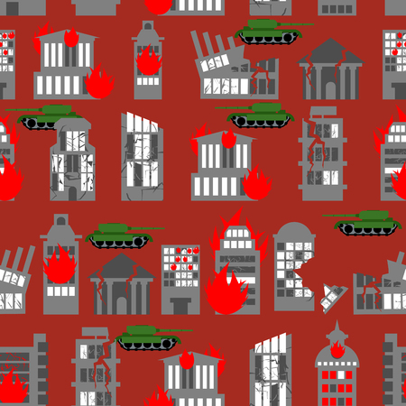 wasteland: War seamless pattern. Ruined city. Tanks in town. Skyscrapers and public buildings destroyed. Background to danger.