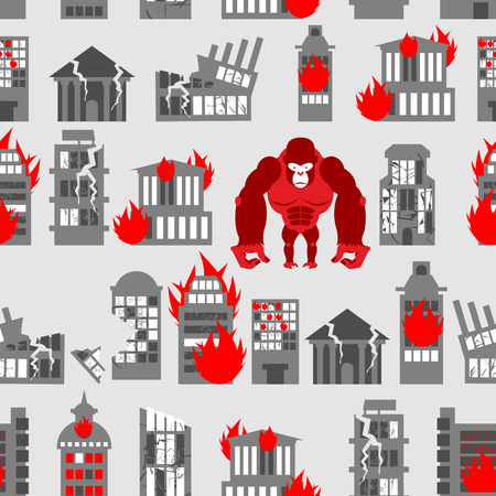 King Kong Ruined building seamless pattern. Dangerous Big Gorilla broke city. Destroyed buildings. Angry Monkey and fire in houses Illustration