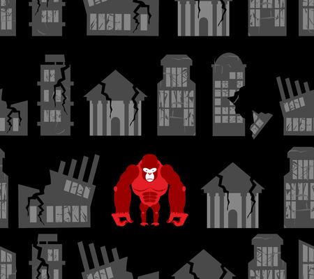 devastation: Monkey destroyer in town. Angry Gorilla broke homes and buildings. Seamless pattern devastation. Background of broken homes