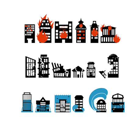 natural disasters: Silhouettes of buildings from natural disasters. Destruction of city. Flooding and fire. Consequence of earthquake - shattered home. Illustration
