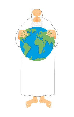 created: God sees  Earth in his hands. Creator keeps the universe. Old grandfather with beard and white clothes creates peace. God created world Illustration