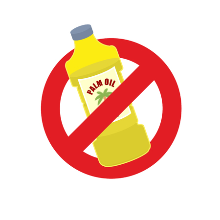 red palm oil: Stop palm oil. Ban on Palm oil bottle. Banning Red sign. Illustration