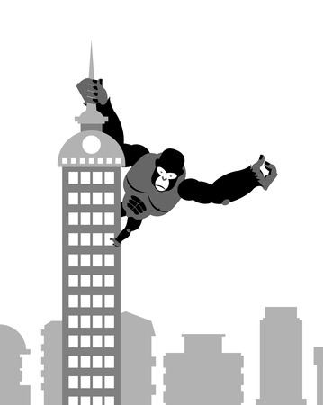 King Kong on building. Strong big gorilla keeps Spire skyscraper. Monkey in town. Illustration