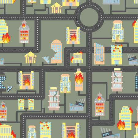 Destroyed city seamless. Fire in Business buildings and vehicles. Industrial background of modern metropolis after hostilities. Destroyed Skyscrapers and public property. Illustration