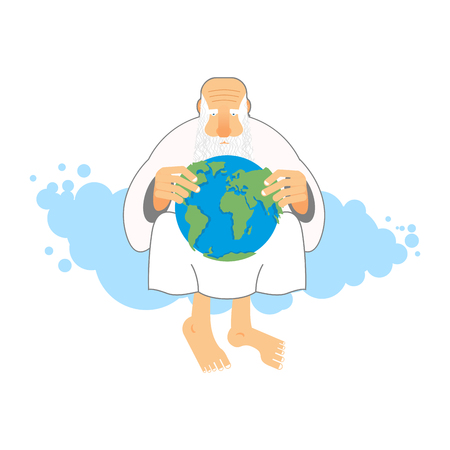 the creator: God holds Earth. Old man sits in heaven keeps  planet in their hands. Creator looks at world. Illustration