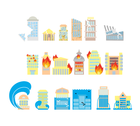 Disaster icon collection. Destruction of buildings set of icons. Earthquake Fault skyscrapers. Fire in business center. Flooding of plant houses, flats. Flooding and tsunamis. Demolition of urban structures and elements of city.
