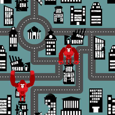 Wild angry Gorilla destroyed city seamless pattern. Big Monkey broke down building. Devastation in city. Destruction of public and residential buildings. Illustration