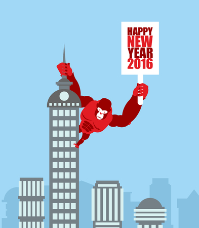 big cartoon: Monkey on skyscraper. King Kong holds a sign with new year. Huge strong Gorilla climbed up on municipal building. Animal from jungle in city. Illustration