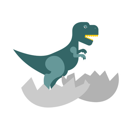 dinosaur egg: Dinosaur and egg. Cub Tyrannosaurus hatched from an egg. Little cute t-Rex. Jurassic animal.