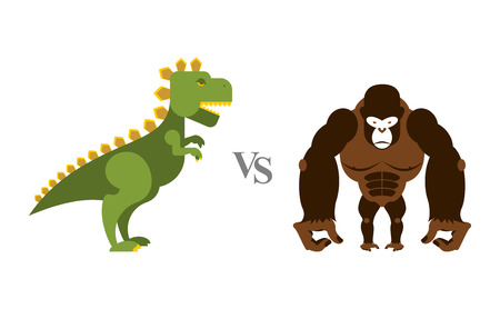 king kong: Godzilla vs King Kong. Battle monsters. Big wild monkey and scary dinosaur. Contest of destroyers.