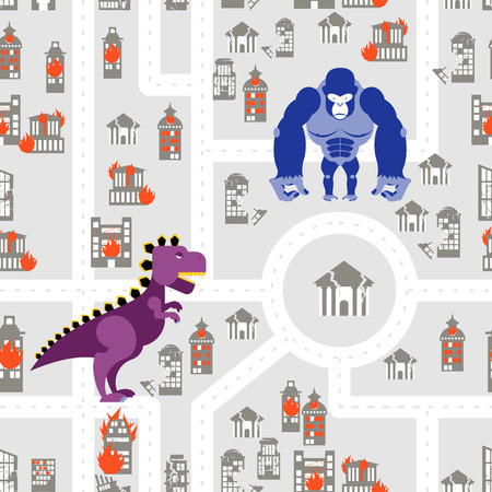 king kong: Monsters to destroy city seamless pattern. Godzilla and King Kong destroys building. Aggressive Dinosaur and big wild animal rage in town. Aggressive background.
