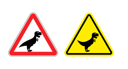 predator: Attention of Tyrannosaurus. Danger sign. Cautious spending t-Rex dinosaur. Angry and scary Predator of Jurassic period. Illustration