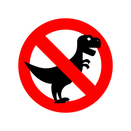 toothy: Stop Tyrannosaurus. Red is dangerous. Evil and scary t-Rex dinosaur. Toothy prehistoric reptile. Ban Animal of  Jurassic period. Illustration