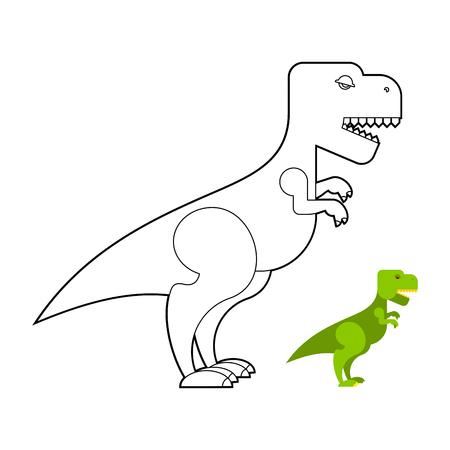 reptile: T-rex dinosaur coloring book. Scary big Tyrannosaurus. Prehistoric reptile with large teeth. Big Green Jurassic predator