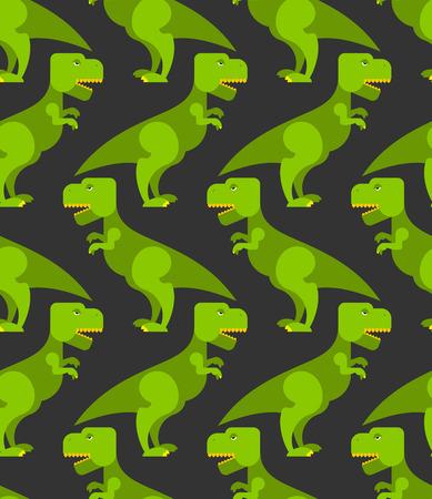 Tyrannosaurus t-rex seamless pattern. Background of  big green prehistoric predator. Retro texture of ancient Reptile to childrens fabric. Cute dinosaur Illustration