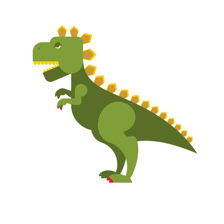 ゴジラ怖い出っ歯モンスター。緑の積極的な恐竜駆逐艦。邪悪な大きな動物。  イラスト・ベクター素材