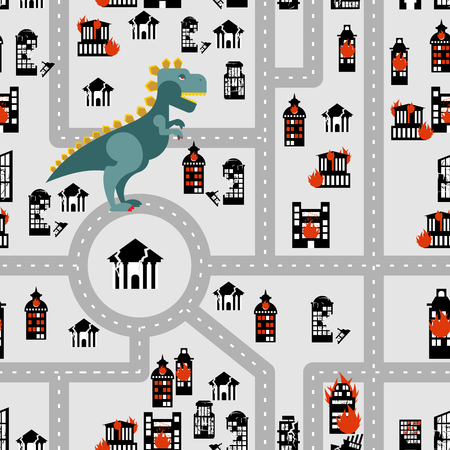 Aggressive dinosaur destroys urban building seamless pattern. Angry Monster breaks city. Horrible Godzilla in town. Destroyed municipal institutions. Fire in  heart of   city
