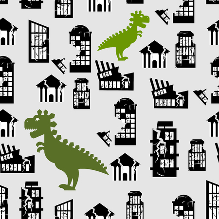 breaks: Godzilla destroys  city seamless pattern. Great Monster breaks down building. Destruction of  City Office at home. Background of terrible aggressive animals in  city centre. Illustration