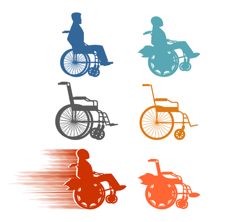 physical impairment: Set invalid. Collection of silhouettes of various disabilities and wheelchairs. Normal and high-speed wheelchair with turbo engine.